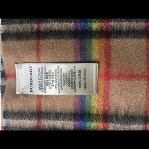Burberry Accessories - Burberry 100% Cashmere Rainbow Stripe Scarf